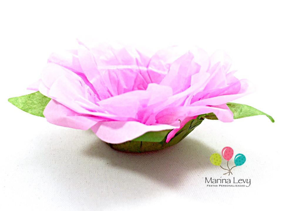 Forminha Flor 40un. - Rosa Clara / Verde  - Marina Levy Festas