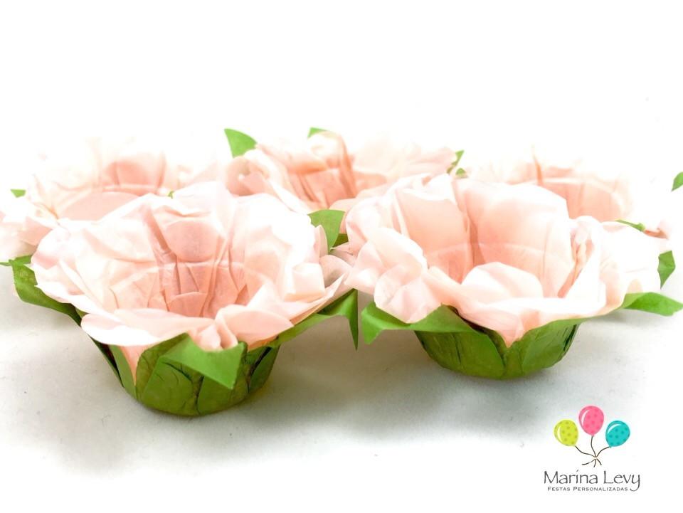 Forminha Flor 40un. - Rosa Vintage / Verde  - Marina Levy Festas