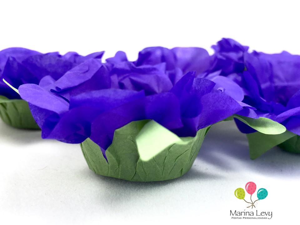 Forminha Flor 40un. - Roxa / Verde  - Marina Levy Festas