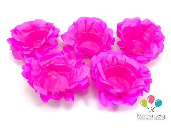 Forminha Flor 40un. - Rosa Pink  - Marina Levy Festas