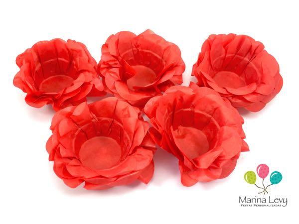 Forminha Flor 40un. - Vermelho  - Marina Levy Festas