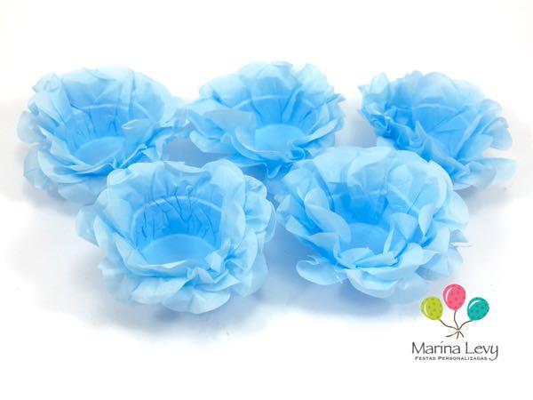 Forminha Flor 40un. - Azul Claro  - Marina Levy Festas