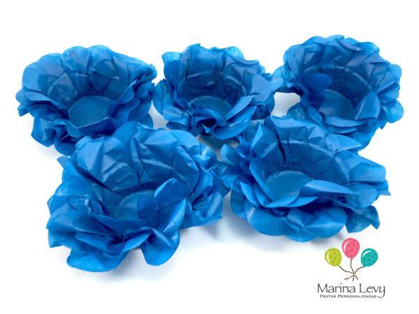 Forminha Flor 40un. - Azul Turquesa  - Marina Levy Festas