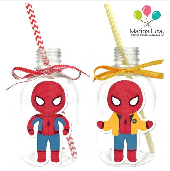 Garrafa Suco + Canudo - Homem Aranha