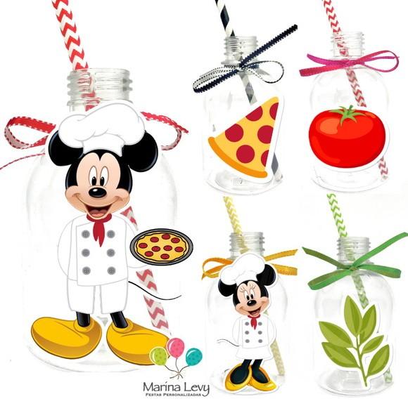 Garrafa Suco + Canudo - Pizzaria Mickey