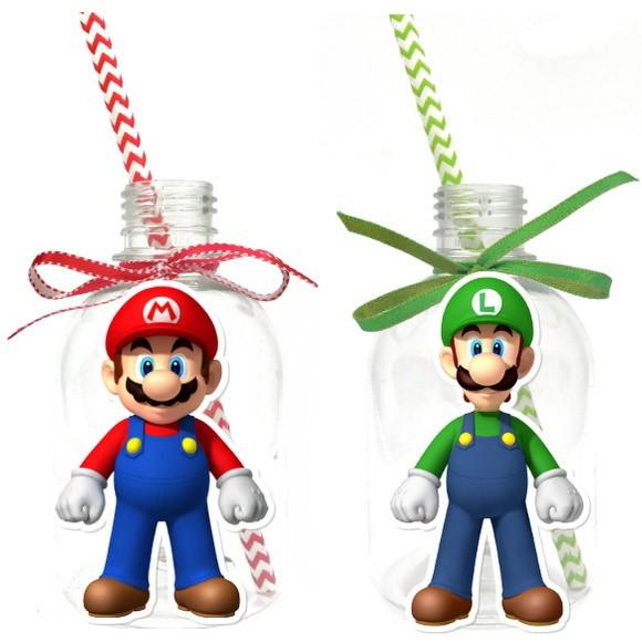 Garrafa Suco + Canudo - Super Mario