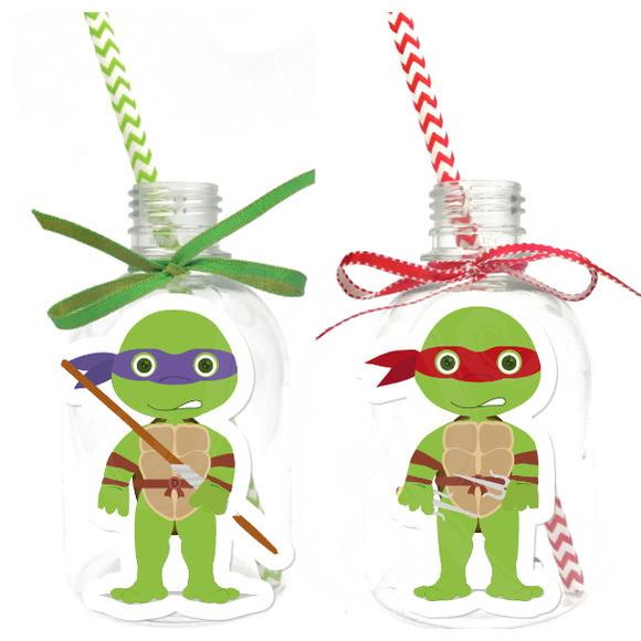 Garrafa Suco + Canudo - Tartarugas Ninja