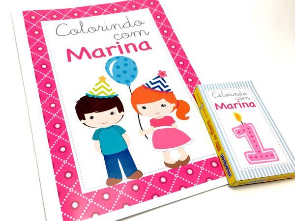 Kit Colorir com 8 Desenhos e 6 Giz de Cera  - Marina Levy Festas