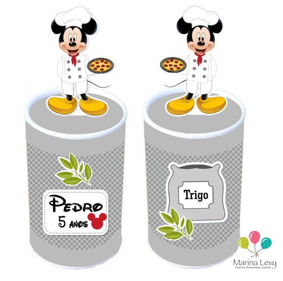 Lata com aplique 3d - Pizzaria Mickey