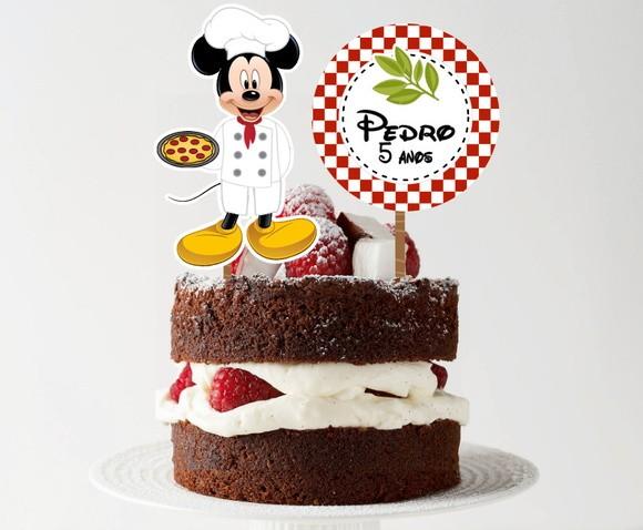 Topo de bolo - Pizzaria Mickey