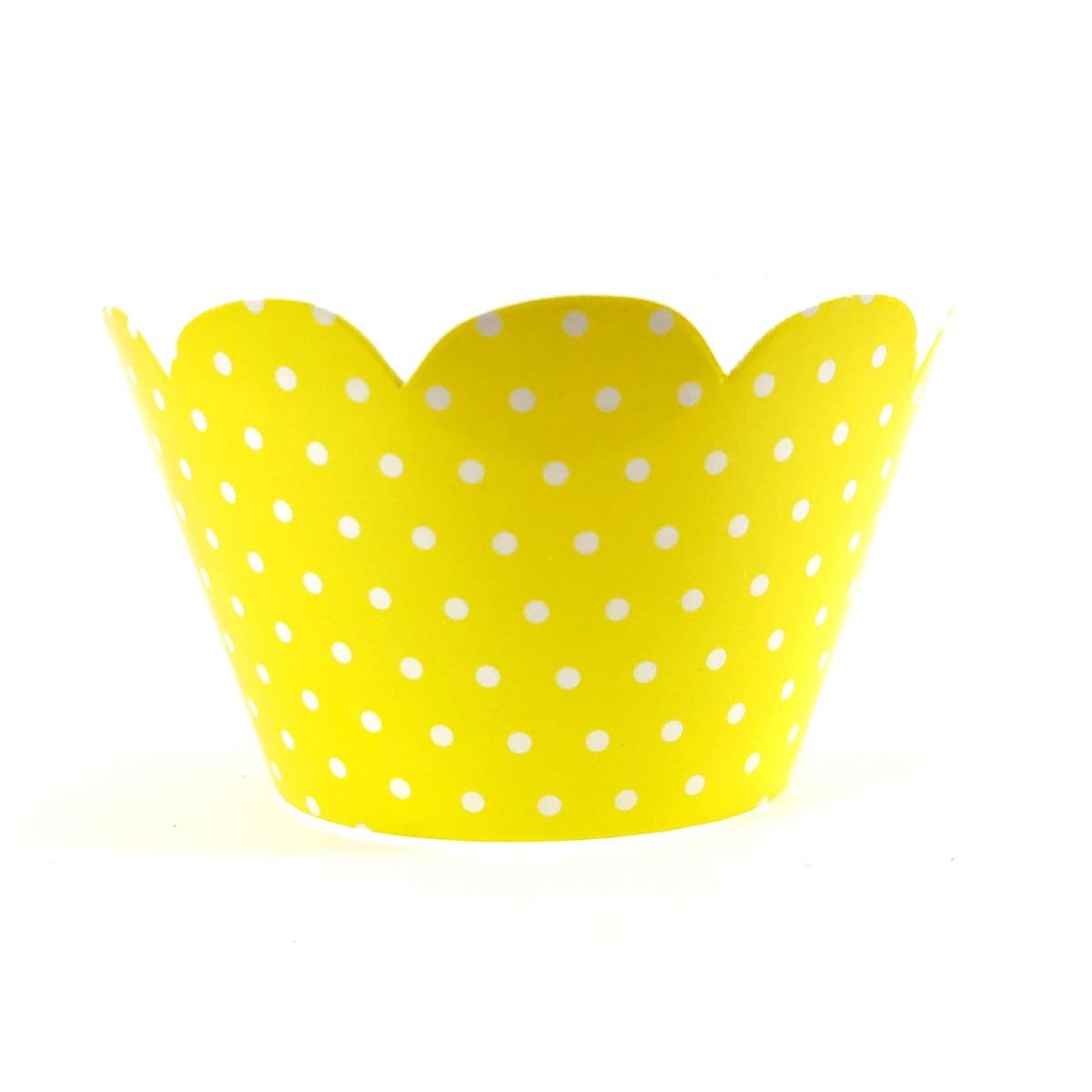 Wrapper para Cupcake - Amarelo Poá