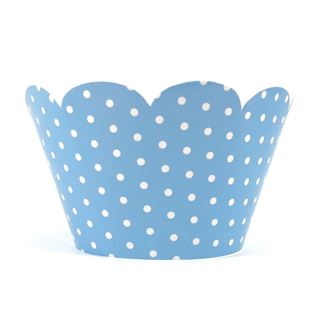 Wrapper para Cupcake - Azul Claro Poá