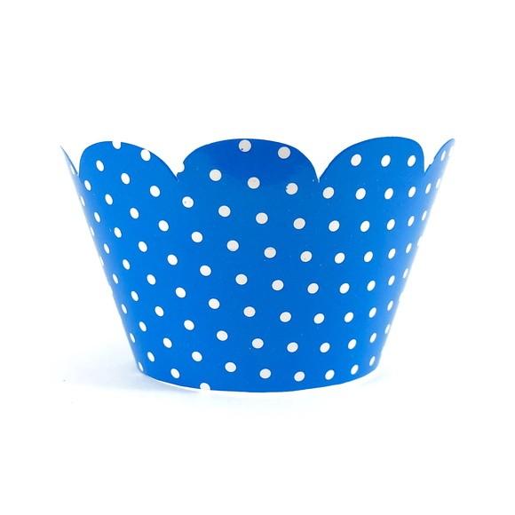 Wrapper para Cupcake - Azul Escuro Poá