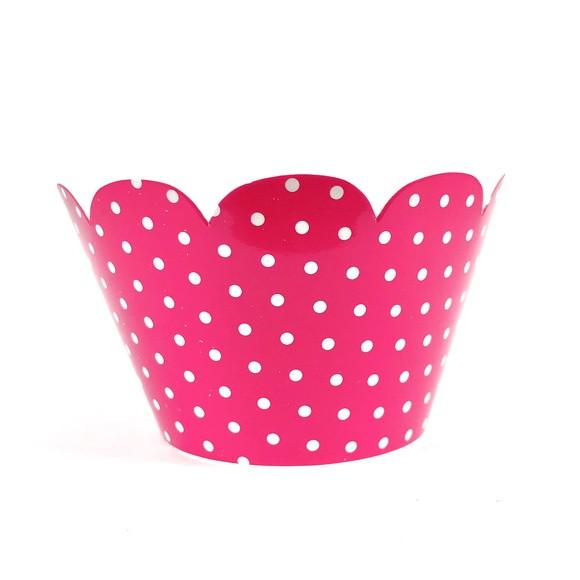 Wrapper para Cupcake - Rosa Pink Poá