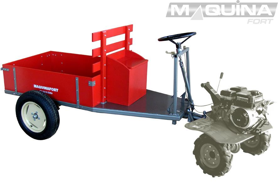 Carreta simples (sem tração) para motocultivador - 1300 R13 - COM DIREÇÃO