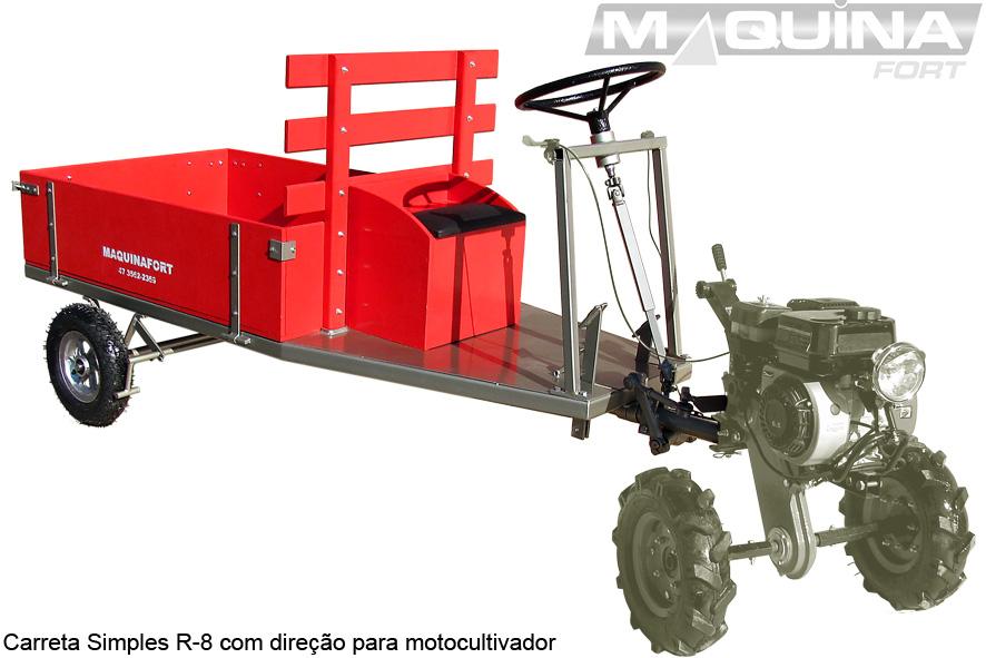 Carreta simples (sem tração) para motocultivador - 1300 R8 - COM DIREÇÃO
