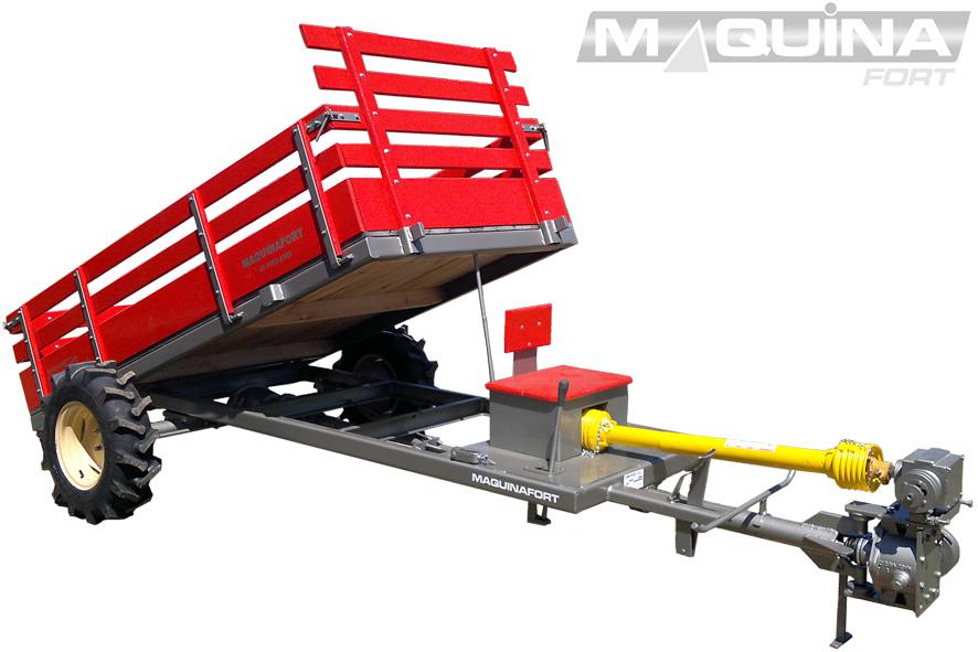 Carreta tracionada para micro-trator - basculante baixa - multi