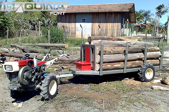 Carreta tracionada para micro-trator - madereira/florestal