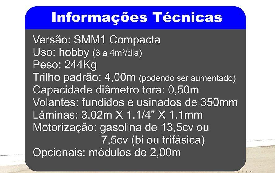 Mini-Serraria SMM1 Compacta trilho personalizado de 8,00m