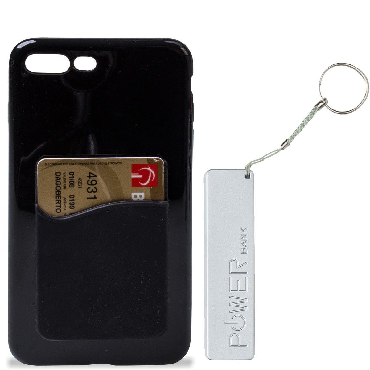 Capa Iphone com porta Cartão e Carregador