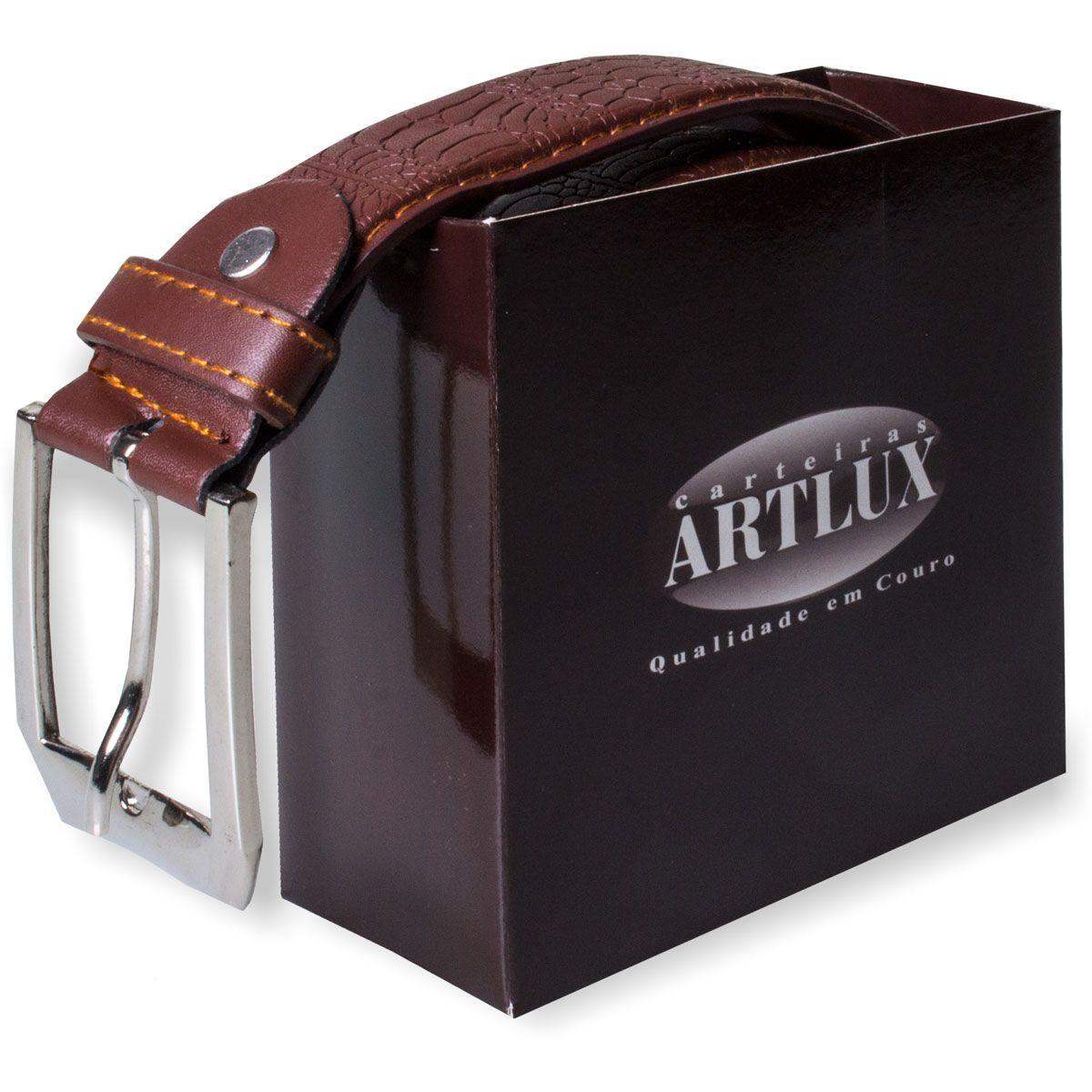 Kit Carteira Artlux Craquelê mais Cinto