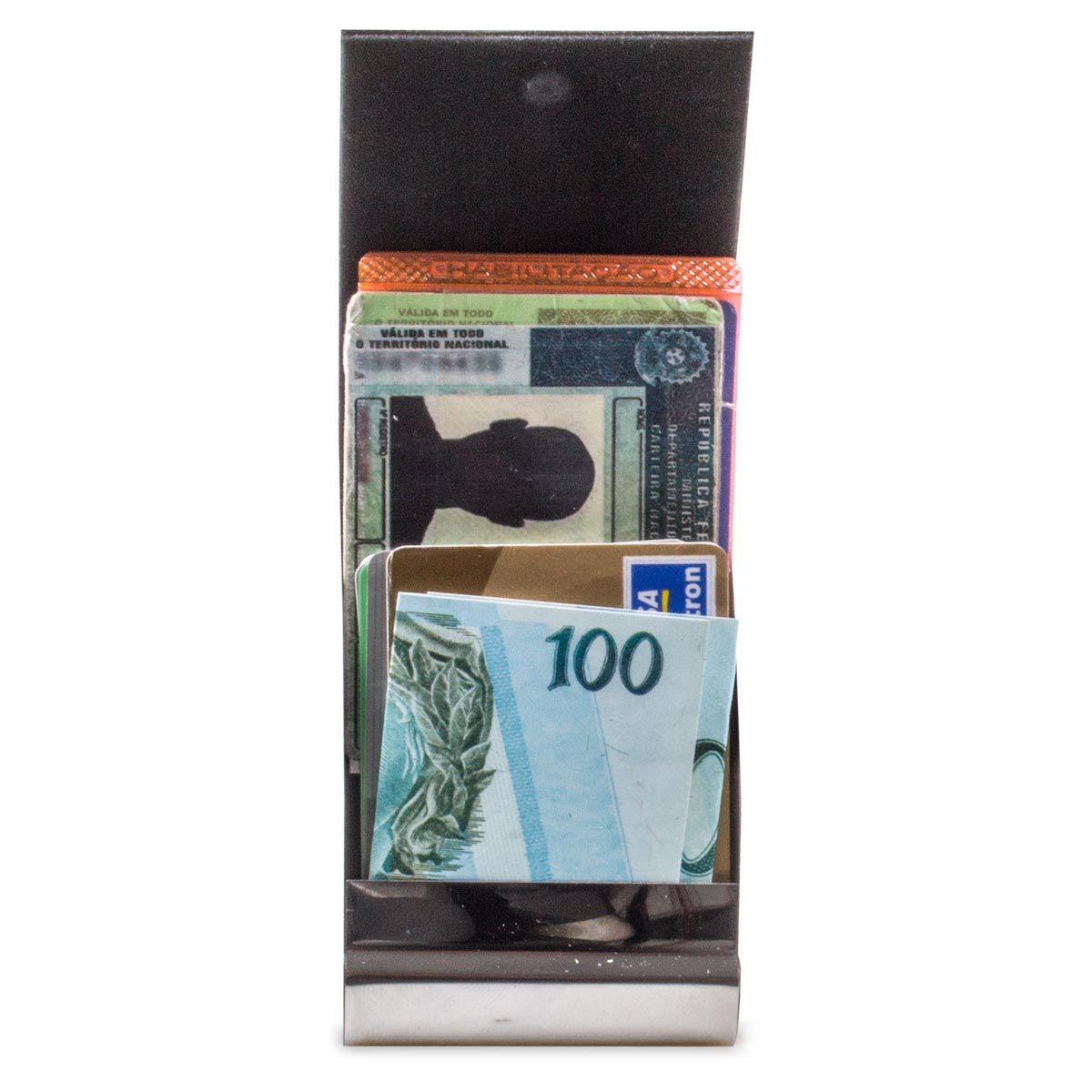 Kit Porta Cartão Chaveiro mais Caneta