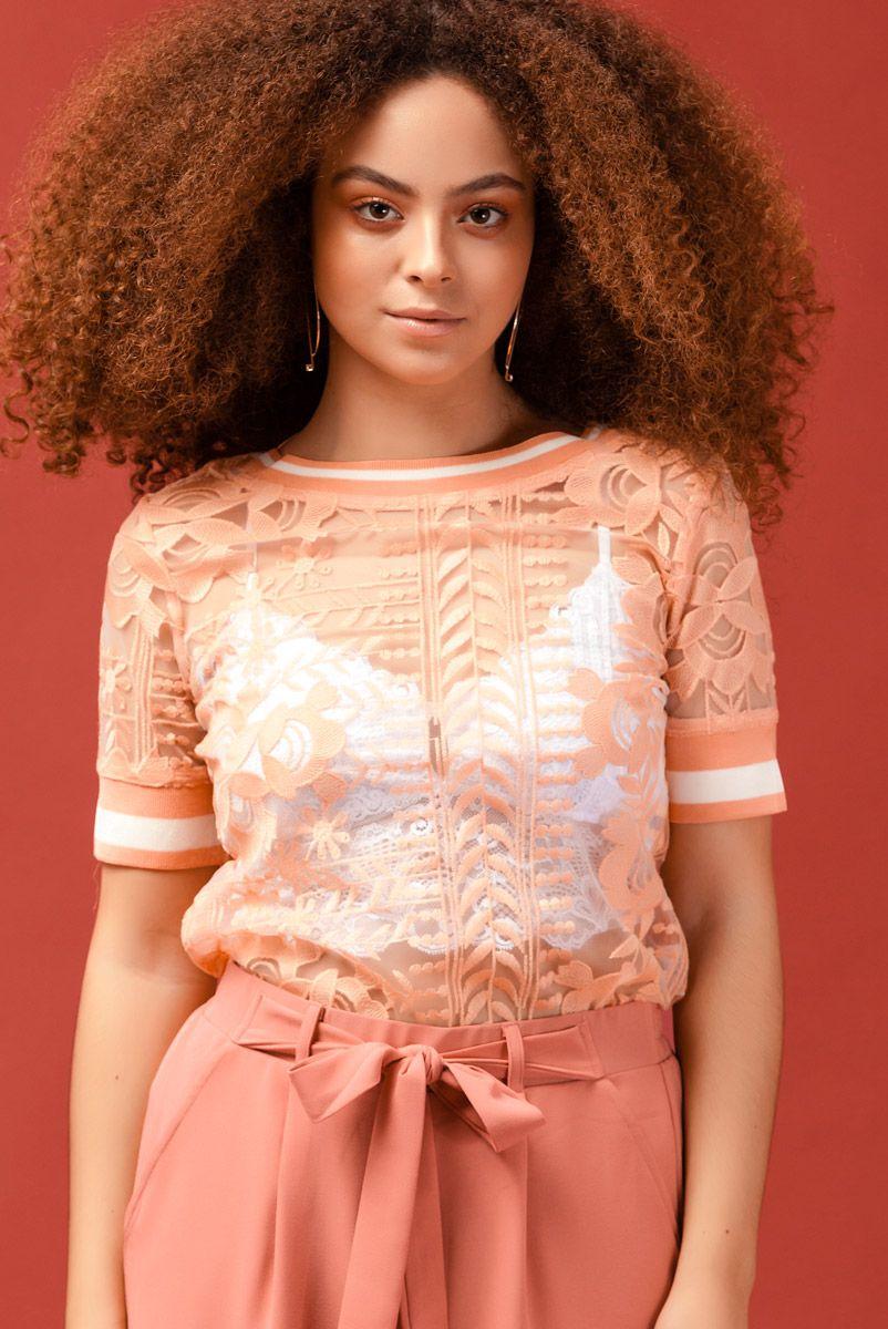 T-shirt Peach Lace