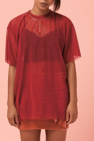 T-shirt Dress Tule Red