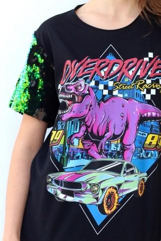 T-shirt Overdrive Dinossauro Paetê