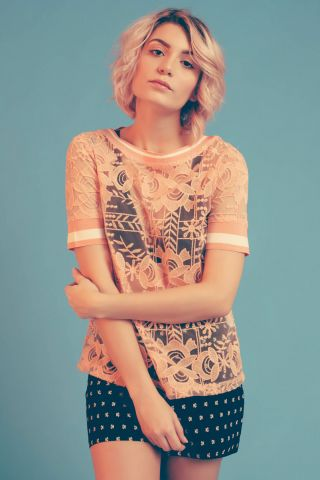 T-shirt Peach Lace