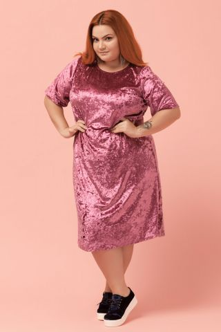 Vestido Plus Veludo Rosa