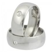 Aliança de namoro em aço com zircônia - 8MM - O Par