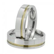 Aliança de namoro em aço reta prata com friso dourado 6mm - O Par