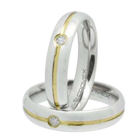 Aliança de aço Max prata com ponto de zircônia 5mm - O Par