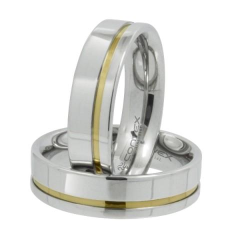 Aliança de namoro em aço reta prata com friso dourado 6mm