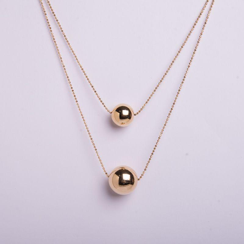 Colar semi jóia bolas dourado