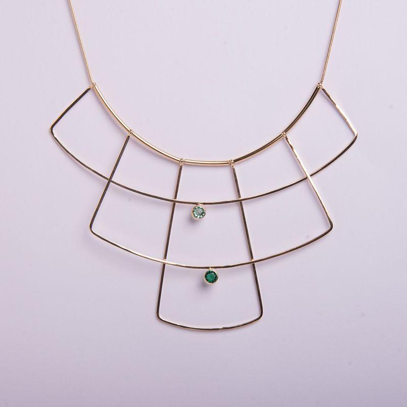 colar semi jóia geométrico