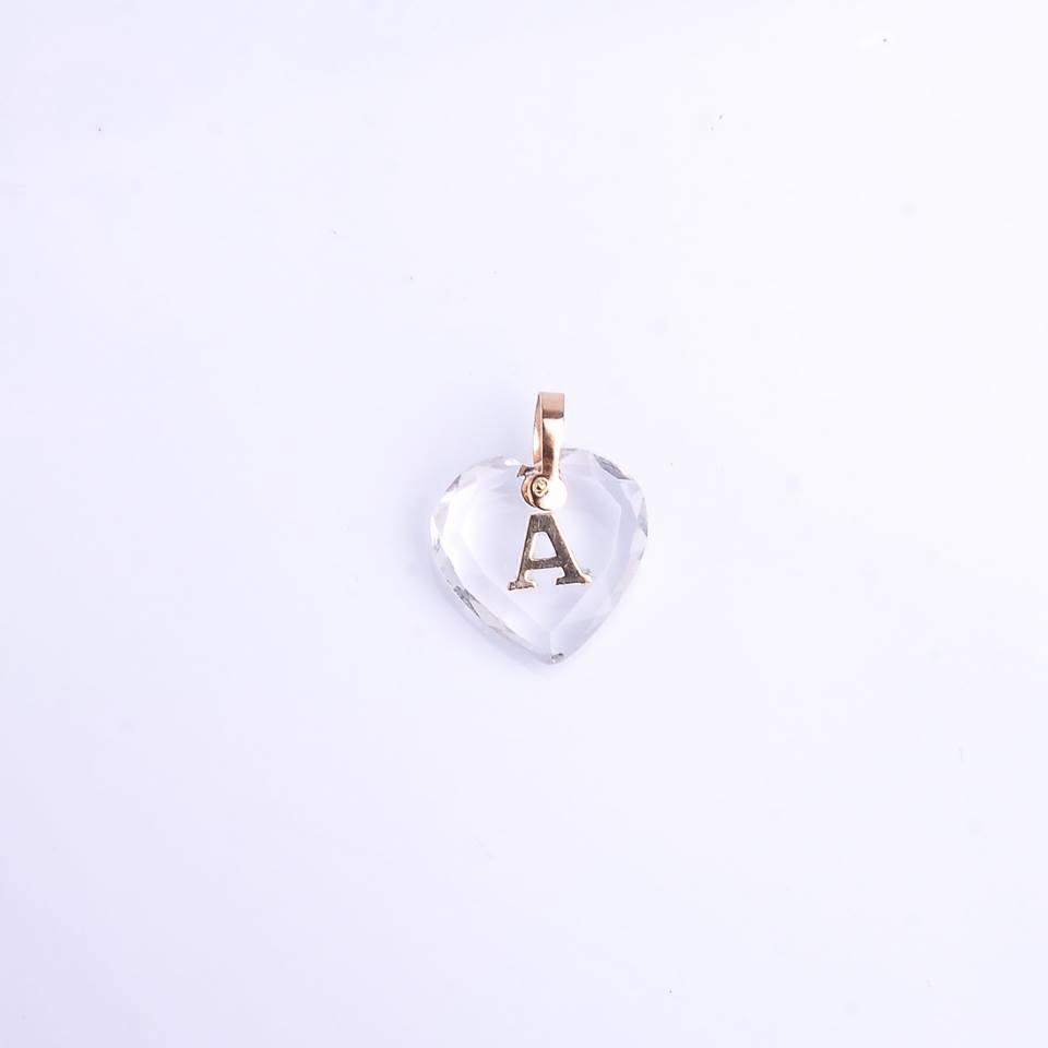 Pingente ouro 18k letrinha cristal coração