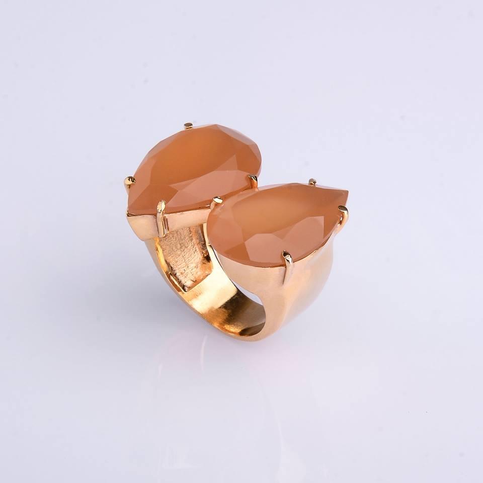 Semi Joia Anel Opala de Fogo com pedra natural