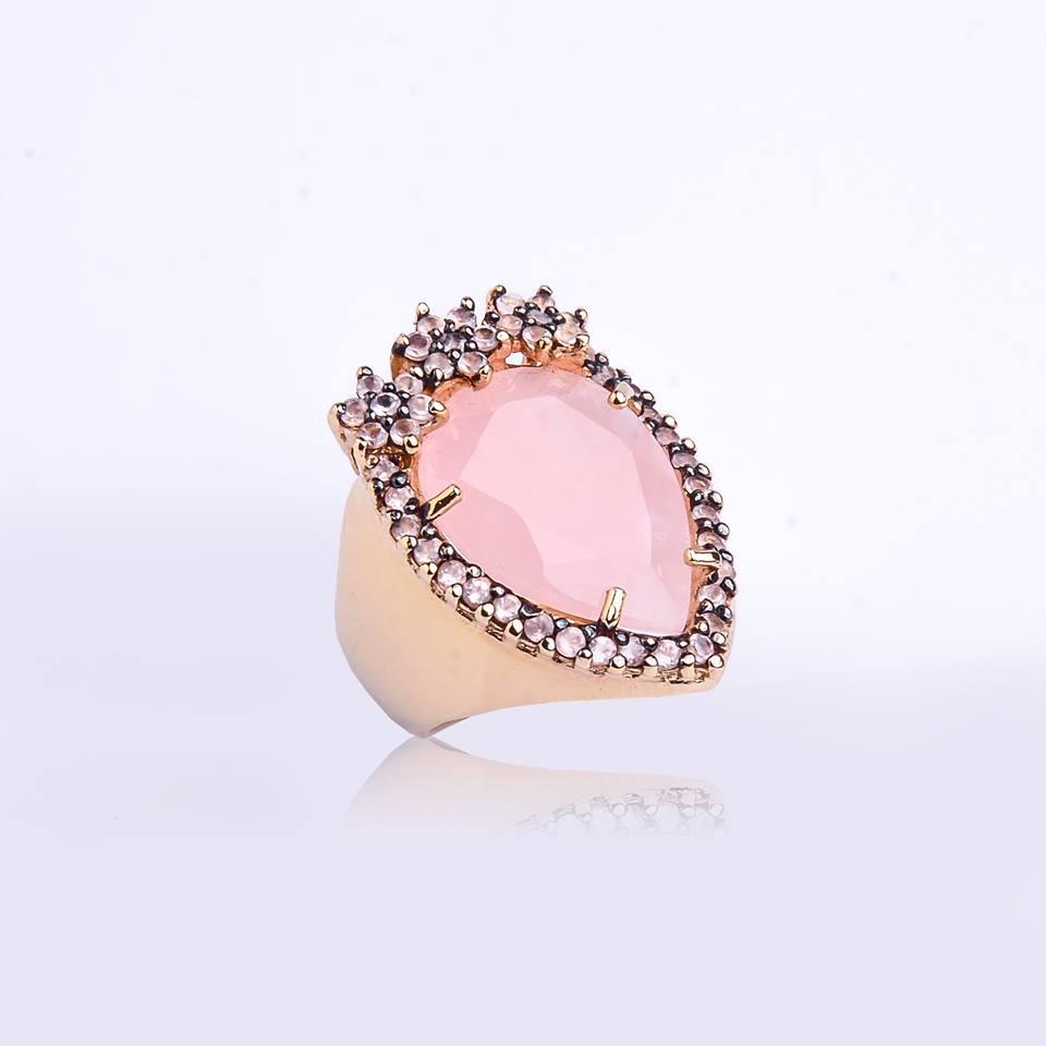 Semi joia Anel quartzo rosa com zircônia