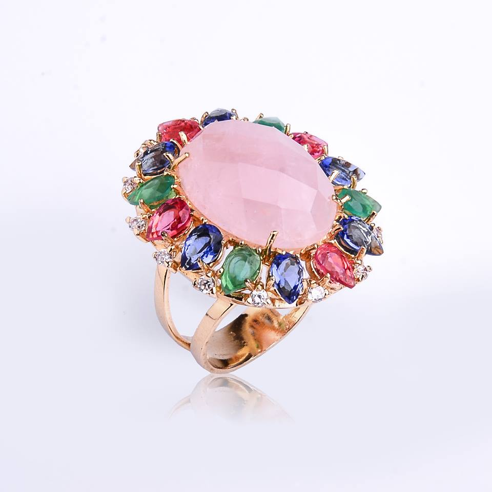 Semi joia Anel quartzo rosa e mix de cristais