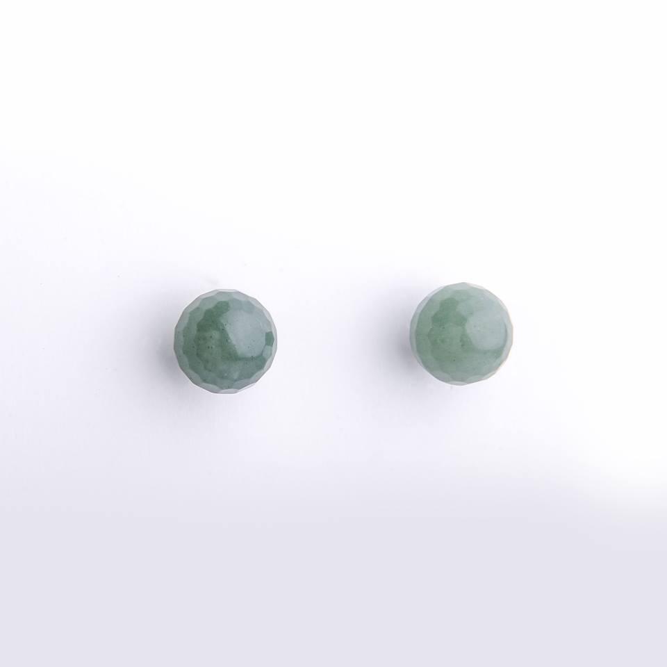 Semi joia brinco bola de quartzo verde