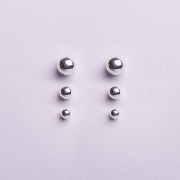 Trio de brinco bolinha em prata