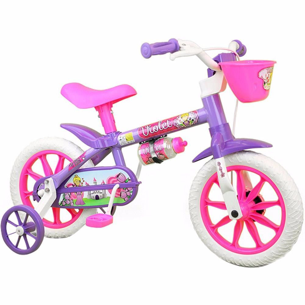 Bicicleta Infantil Feminina Aro 12 Violet - Nathor