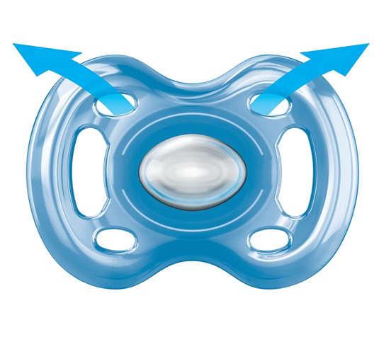 Chupeta Freeflow Noturna Ortodôntica 6-18 Dupla Azul