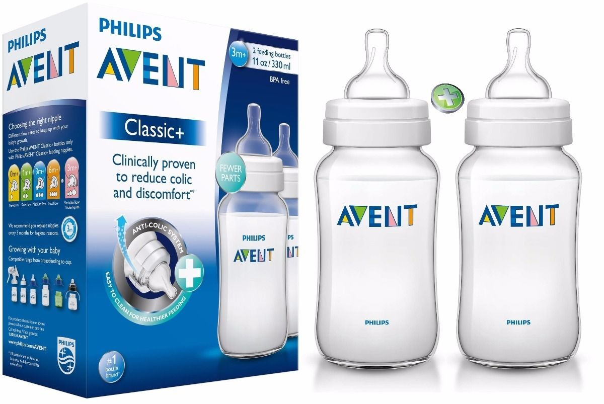 Kit com 2 Mamadeiras 330ML Classic+ Philips Avent
