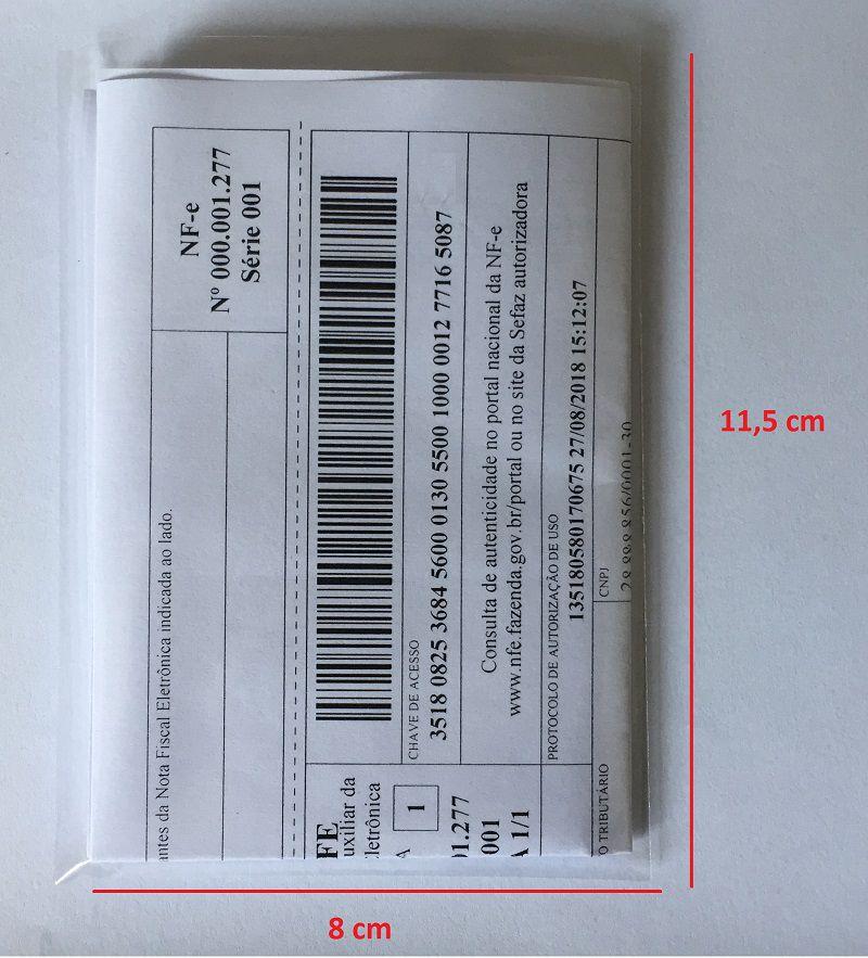 Saco Embalagem Envelope Transparente para NFe Nota Fiscal Danfe 8x11cm