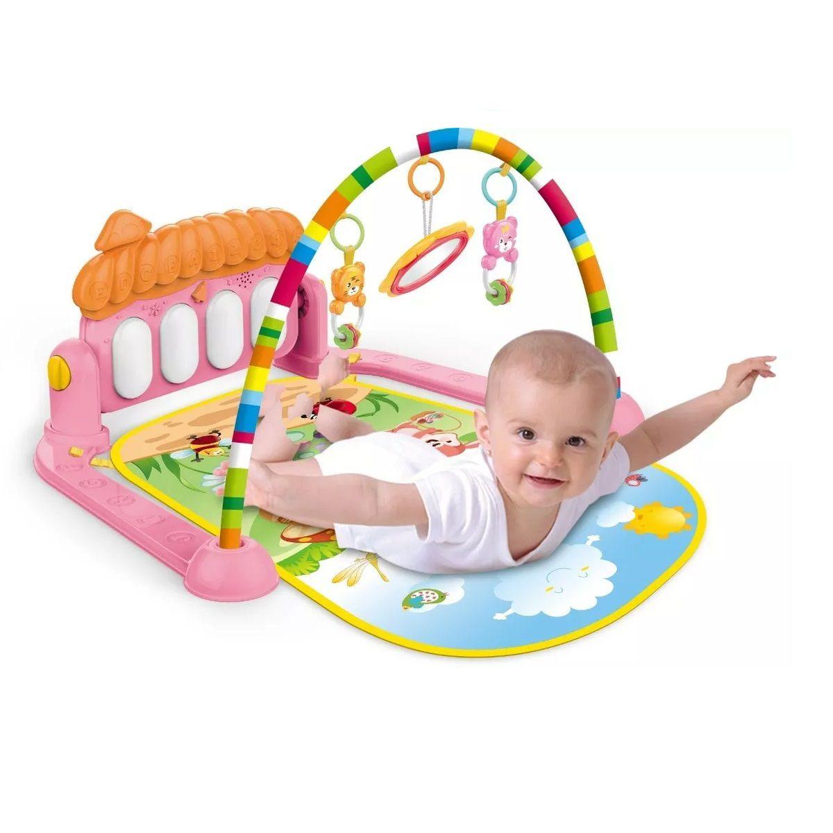 Tapete de Atividades para Bebê Musical com Piano Rosa Villa - Color Baby