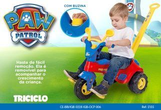 Triciclo Infantil Patrulha Canina PAW com Haste - Cotiplás
