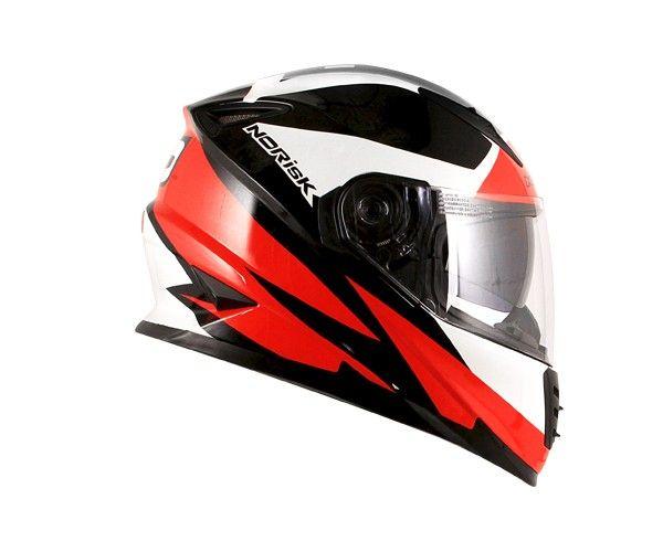 Capacete NoRisk FF302 RIDIC Preto-Branco-Vermelho